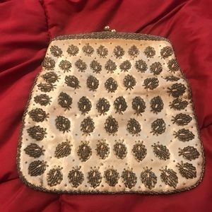 Handbags - VTG 70s Raised Large Silk Embroidered Coin Purse